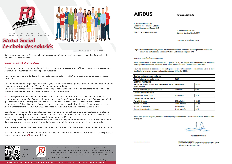 politique salariale pluriannuelle Direction Airbus FO Airbus Def & Space