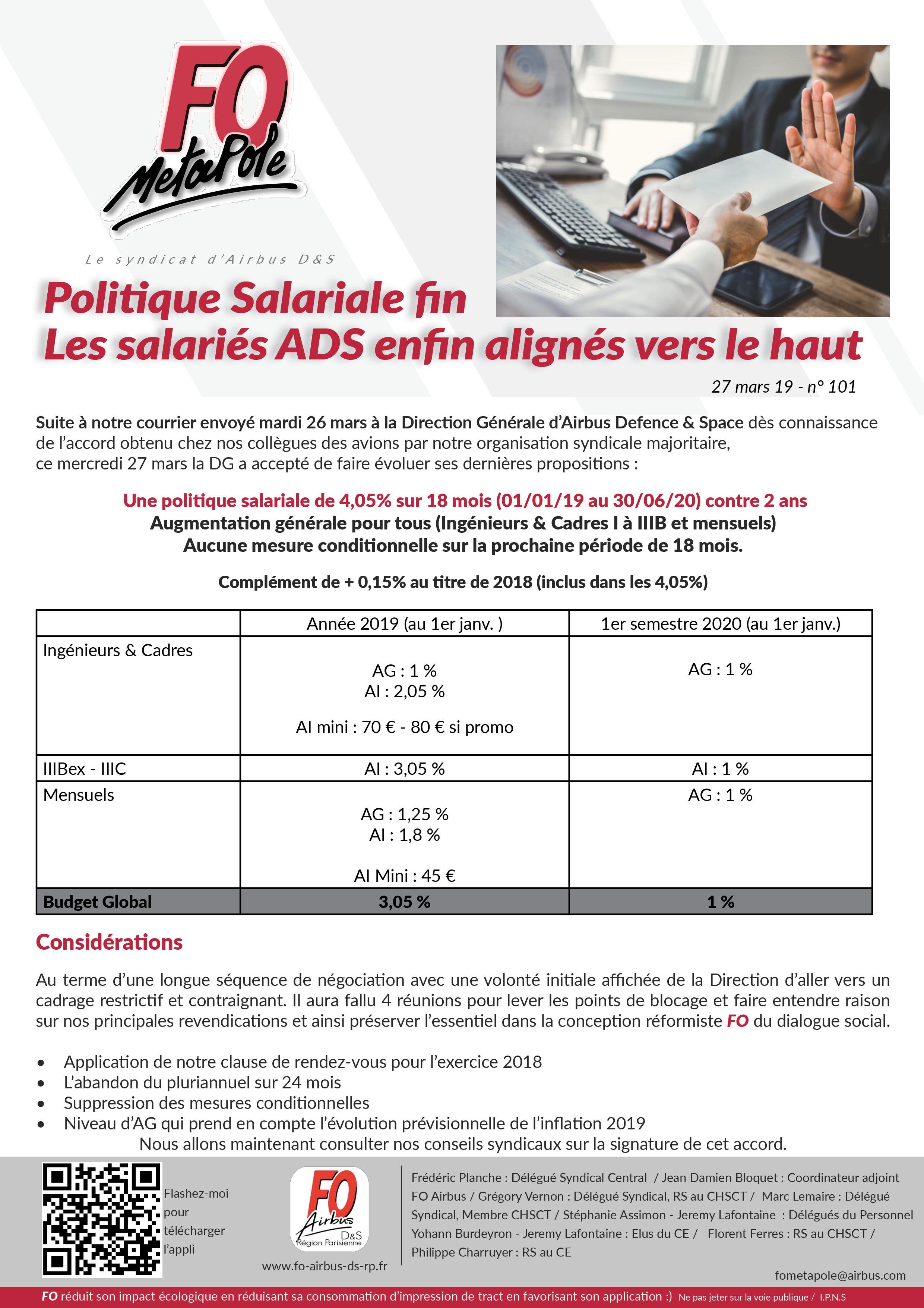 politique salariale évolue Direction Airbus FO Airbus Def & Space