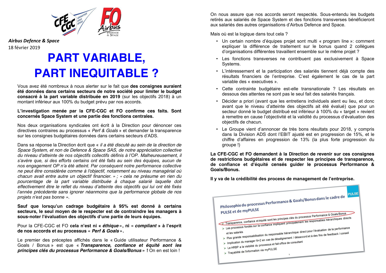 tract commun CGC-CFE FO Airbus Def & Space sur la part variable bonus cadre