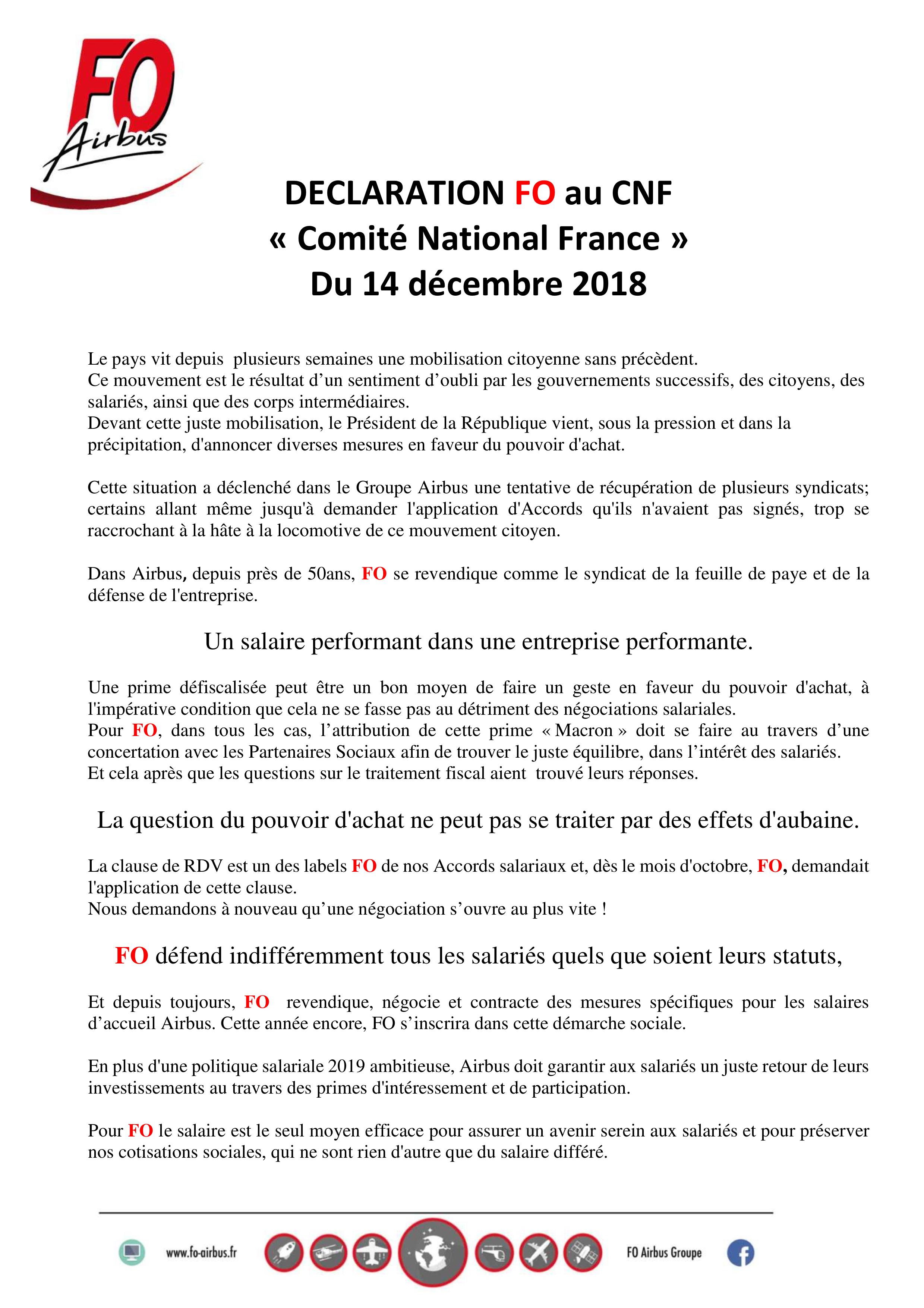 Déclaration FO au CNF et prime Macron groupe Airbus